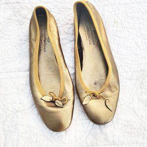 LINDA PRITCHER Italy Bronze Leather Ballet Flats